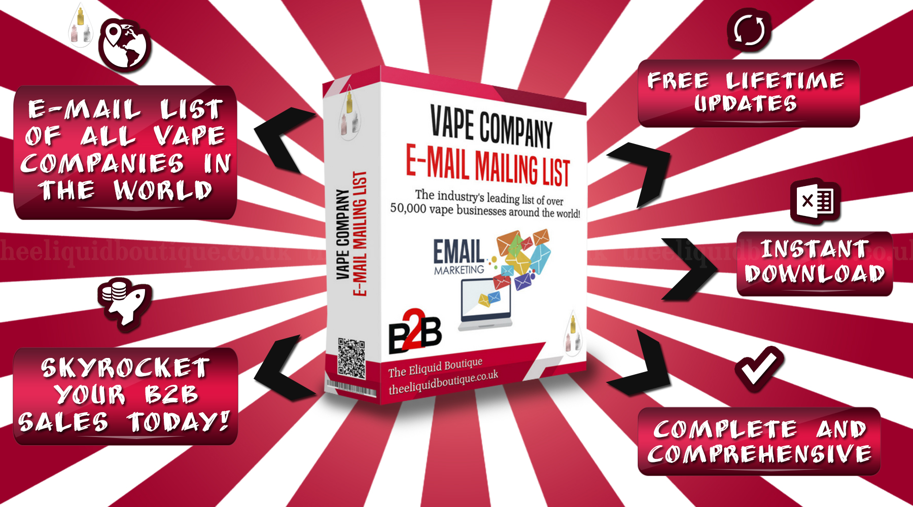 Hooray! The Vape Company Email List Has Undergone Another Update Today! The entire vape company email list has undergone one of many updates this month. The entire email list has been scrubbed from top to bottom using a three level email verification technique to remove all the non-resolving domains (abandoned domains) and defunct email accounts. Around 200 new vape and e-liquid wholesaler and distributor emails were added.  Why Use Our Vape Company Emails? Our vape company emails encompass virtually all the vape companies from all over the world including vape shops (online and brick-and-mortar), vape and e-juice wholesalers and distributors, vape event organisers, vape blogs, e-liquid brands, vape hardware manufacturers and much more. Our email list of vape companies is ideal for newsletter and email campaigns. Simply load up all the emails into your newsletter provider or email list, draft your message and hit send. The vape company emails will connect you with almost all vape companies in the world in a flash. Our vape email list is being used by hundreds of e-liquid brands, vape wholesalers and other vape companies interested in selling their products or services to other vape businesses.  Vape Shop Email List - 7 December 2018 Update  Here's What You Will Get By purchasing our vape company email list, you will receive FREE regular updates which will be delivered directly to your inbox by our system. As you will have undoubtedly noticed, our vape company email list is updates very regularly to ensure that you have the latest and working vape company emails at hand. Say goodbye to stale and outdated email lists and start focusing on selling your products without wasting your precious time on compiling your own list of vape companies.  How we collect vape company emails All of our vape company emails are collected from the public domains and vape exhibitions by our multi-lingual team. There are many vape stores that are simply impossible to find due to them being